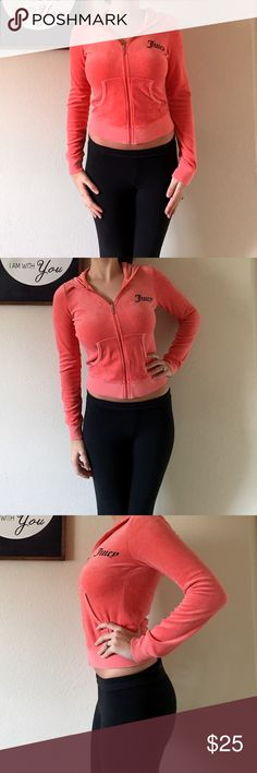 """Coral Juicy Couture Hoodie This adorable zip-up features the signature """"J"""" zipper, says """"Juicy"""" on the front, and has a gold foil Juicy logo dog on the back. Pre-loved, but still in good condition. Juicy Couture Tops Sweatshirts & Hoodies"""