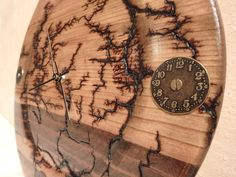 Handcrafted Clock Lichtenberg Wood Figured by CraftedFromNature4U