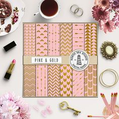 """Pink Digital Paper -  http://etsy.me/2awRkLK 12 arrows scrapbook paper: """"PINK AND GOLD"""" with gold arrow patterns."""