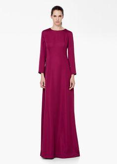 Pin for Later: 50 elegante, bodenlange Abendkleider unter 100 €  Mango langes Kleid mit Schlitz in purpur (100 €)