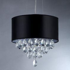 Warehouse of Tiffany Sophie Silver Crystal Chandelier with Black Shade at The Home Depot - Mobile Ceiling Chandelier, Black Chandelier, Ceiling Lights, Chandeliers, Bathroom Chandelier, Bubble Chandelier, Amber Crystal, Vintage Gothic, Light Bulb Bases