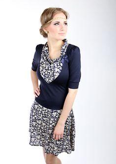 """Knielange Kleider - MEKO """"Joslyn"""" Kleid Blau Damen Blumen - ein Designerstück von meko bei DaWanda"""