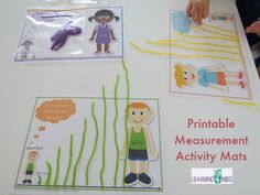 Printable Measurement Activity Mats - using string, play dough, sticks and other items to compare and order length Measurement Activities, Math Activities For Kids, Math Measurement, Math For Kids, Math Classroom, Kindergarten Math, Fun Math, Teaching Math, Preschool Activities