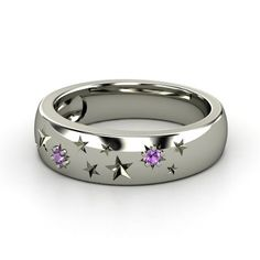 """Perfect Ring for Me - Sterling Silver, Stars, and Amethyst! Design is called """"Written in the Stars."""""""