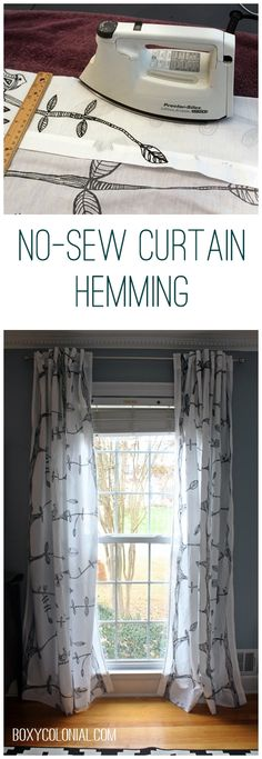Use Heat N Bond. Hem curtains without sewing with iron on hem tape. How To Hem Curtains, Curtains Without Sewing, Drop Cloth Curtains, Rod Pocket Curtains, Diy Curtains, Hemming Curtains, Window Curtains, Bedroom Curtains, Patterned Curtains