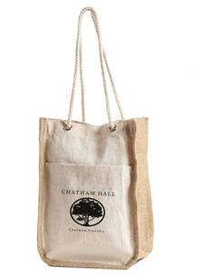 J0140 Cotton Gift Bag With Front Pocket, Jute Gusset And Rope Handles #jutebag