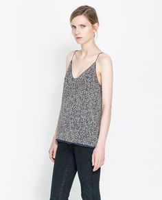 PRINTED STRAPPY TOP from Zara. just like this.  good layering piece that could work in many seasons