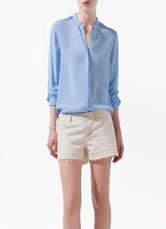 Women's epaulettes chiffon blouse