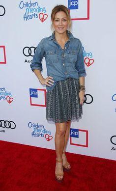 Sasha Alexander - love the denim shirt and skirt combo