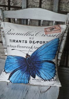 Pillow Cover Blue Butterfly Cotton and Burlap by JolieMarche