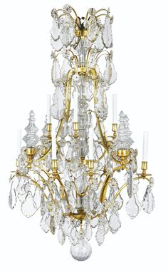 A GILT-BRONZE MOUNTED CUT-GLASS CHANDELIER IN LOUIS XV STYLE