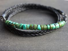 Mens Turquoise Bracelet - Rugged Turquoise braided leather bracelet, sterling silver mens jewelry, gift for him, mens anniversary gift by ShopChickpeaStudio on Etsy https://www.etsy.com/listing/276977198/mens-turquoise-bracelet-rugged-turquoise