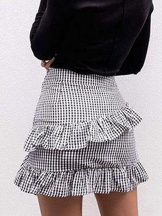 Shop Monochrome Gingham Cross Ruffle Tie Waist Mini Skirt from .Free Shop Monochrome Gingham Cross Ruffle Tie Waist Mini Skirt from . Chambray Skirt, Gingham Skirt, Skirt Mini, Mini Skirts, Tumblr Shirt, Long Skirt Outfits For Summer, Sorority Recruitment Outfits, Dandy, Pencil Skirt Outfits