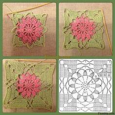 Crochet Flowers Ideas Crochet flower square pattern by renee Motifs Granny Square, Granny Square Crochet Pattern, Crochet Diagram, Crochet Chart, Crochet Granny, Crochet Geek, Granny Squares, Free Crochet, Crochet Flower Squares