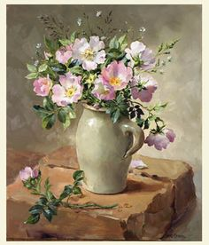 Ann Cotterill   OIL                               Briar Roses in a Stone Jug