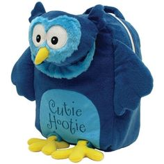 "Laid Back Kids Cutie Hootie Owl backpack This soft, plush character shaped bag is great for travel or back-to-school. Embroidered, fully lined, includes lots of 3-D detail. Packaging: hang tag. Measures 9"" x 12"" x 5 1/2"" We will personalize the bag for you in the font and thread color you choose. We will personalize in the top front of the bag behind the head. This bag is great for little kids to go to grandparents houses, sleep overs. It is also great for carrying toys in it."
