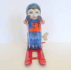 "Vintage Schylling Tin Wind Up Boy Ski Skiing Sports 5.5"" tall #Schylling"