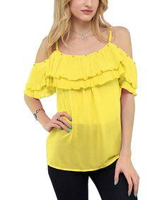 Look at this #zulilyfind! Yellow Sheer Ruffle Off-Shoulder Top by Good Stuff Apparel #zulilyfinds