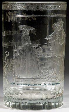 Dominik Biemann Severní Čechy c, (Harrachov) nebo Františkovy lázně Murano Glass, Czech Glass, Glass Engraving, Fine Art Gallery, Glass Art, History, Antiques, Painting, Beauty