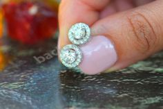 1.50 CT Stud Earrings Screw Back Lab Diamond 14k White Gold Finish 925 Silver #Bacio2jewel #StudEarrings