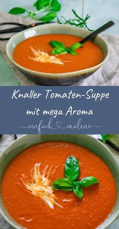 Super simple & aromatic - tomato soup with roasted o .- Super einfach & aromatisch – Tomatensuppe mit gerösteten Ofentomaten Super simple & aromatic – tomato soup with roasted oven tomatoes - Easy Soup Recipes, Shrimp Recipes, Meat Recipes, Crockpot Recipes, Vegetarian Recipes, Dinner Recipes, Healthy Recipes, Vegan Vegetarian, Chicken Soup Recipes