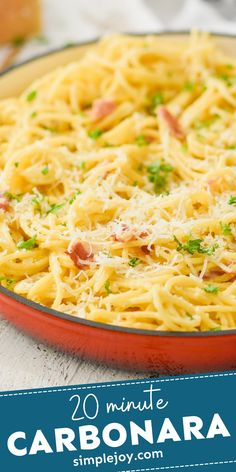 This 20 minute Carbonara is one of our family's go to meals! Fast Dinner Recipes, Fast Dinners, Easy Meals, Bacon Recipes, Pasta Recipes, Kid Friendly Dinner, Skillet Meals, Picky Eaters, Pasta Dishes