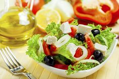 Picture of Greek Salad Mediterranean Salad with Feta Cheese, Tomatoes and Olives stock photo, images and stock photography. Healthy Salads, Healthy Life, Healthy Eating, Healthy Recipes, Onion Recipes, Chopped Salad, Greek Salad, Cheap Meals, Light Recipes