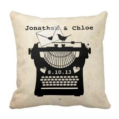 Romantic Vintage Typewriter Throw Pillow Save 40% off all pillows with coupon code: ZSUMMERHOMES