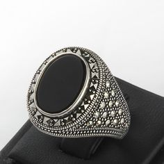 Mens Ring 925 Silver size 10 us Man Ring Black Onyx by ATAjewels #menssilverring…
