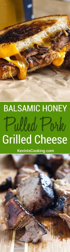 Balsamic Honey Pulled Pork Grilled Cheese Sandwiches A huge favorite with friends and family, plus it's so easy. One recipe I go to time and again to stuff grilled cheese sandwiches! Kubanisches Sandwich, Deli Sandwiches, Grilled Sandwich, Grilled Pork, Soup And Sandwich, Pull Pork Sandwiches, Grilled Cheese Sandwiches, Ultimate Grilled Cheese, Grilled Cheese Recipes