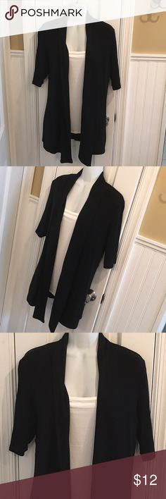 "Black short sleeve cardigan About 30"" long. Open cardigan. Express Tops"