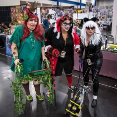 Geriatric Poison Ivy, Harley Quinn, and Catwoman at Houston's Comicpalooza 2015.