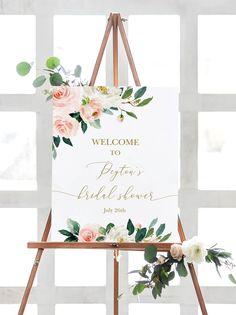 Bridal Shower Welcome Sign, Bridal Shower Signs, Bridal Shower Decorations, Southern Bridal Showers, Peach Bridal Showers, Bridal Shower Colors, Elegant Bridal Shower, Candy Bar Wedding, Diy Wedding