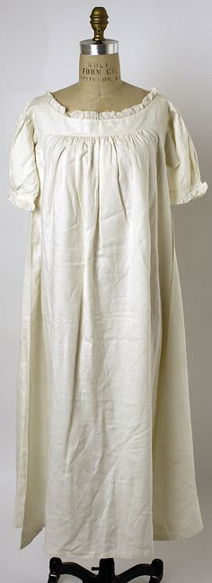 Linen Nightgown, 1830's
