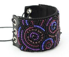 beadwork on leather