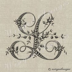 Antique French Monogram Letter L Instant Download Digital Image No.228 Iron-On Transfer to Fabric (burlap, linen) Paper Prints (cards, tags)...