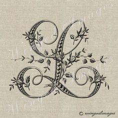 Antique Français Monogram lettre L Instant par WingedImages sur Etsy