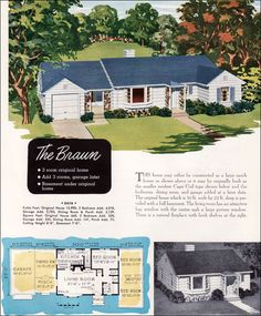 "An original ""tiny house"" with about 600 sq ft: Small Mid Century Ranch Style House Plan - 1952 Braun - National Plan Service Homes - Gabled Roof"