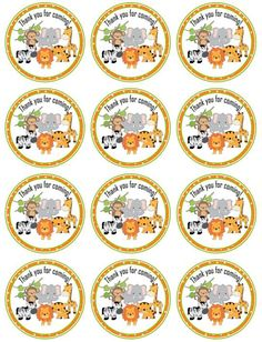 Perfect for a Zoo party or zoo baby shower. Lion, Elephant, Giraffe, Monkey, Tiger and Zebra images Jungle Party, Safari Party, Safari Theme, Baby Shower Themes, Baby Boy Shower, Jungle Cartoon, Imprimibles Baby Shower, Kids Zoo, Animal Cupcakes