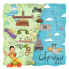 Enjoy exploring the vibrant city of Chennai in this fun map illustration by Aishwarya Vohra. The print makes a great gift for Chennai lovers and features notable sites including Central Station, Kapaleeshwarar Temple, and the Royal Enfield Motors Factory Indian Illustration, Travel Illustration, Bear Illustration, India Map, India Travel, Chennai, Design Thinking, Map Painting, India Painting