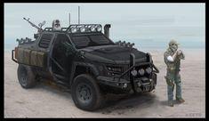 PMC Dodge Charger Guntruck: Armament: 2x door/swivel-mount M249 LMGs w/ M203 GLs; rear/high-angle DKsH-38 12.7mmR HMG. Equipment: 1x3/4 tube smoke-grenade racks; roof camera-turret; engine-snorkel; side/hardpack equipment-stowage. 1x3/4 front/roof halogen light-bars; front/ram-frame; armoured windows; long-range radio; light ballistic-armour.