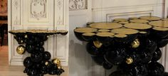 This is the Newton aluminum console table luxury futuristic console gold plated spheres luxury interiors Limited Edition Boca do Lobo #interieur2014