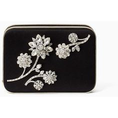 Kate Spade Evening Belles Zurie With Flower Gem (2.310 BRL) ❤ liked on Polyvore featuring bags, handbags, clutches, flower purse, party clutches, special occasion clutches, evening box clutch and special occasion handbags
