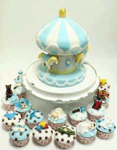 carousel cake and cupcakes, cute for a baby shower or 1st bday party