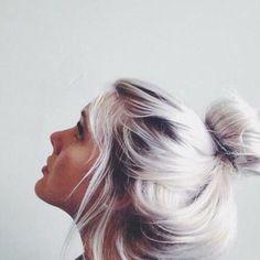 White colored hair bun