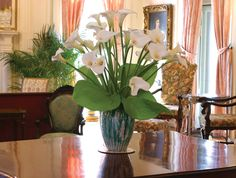 Exquisite Calla Lilies  in our lovely Music Room at Blantyre