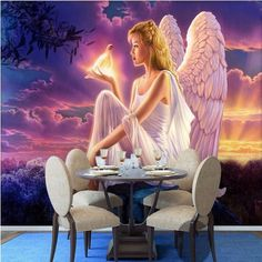 Beibehang custom photo wall paper Luxury Quality HD Dream World Peace Dove guardian angel girl sunset 3d large wallpaper  #Affiliate