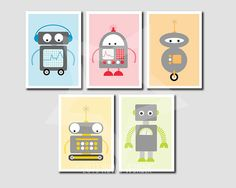 Robot Nursery Print Set of 5  5x7 Prints  FREE by HowIWonderShop, $29.95