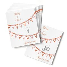 Pennant Hearts Table Numbers - Mango and Salmon