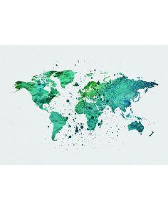 World Map Green Watercolor Art